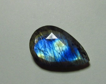 So Gorgeous Nice Quality - Faceted Pear Shape Briolett Focal - LABRADORITE - Drilled Amazing Strong Flashy Fire Huge Size 16x25 mm DRILLED
