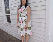 60s Spring Floral Dress Nelly Don White Pink Print Full Skirt Sleeveless M L 38 Bust