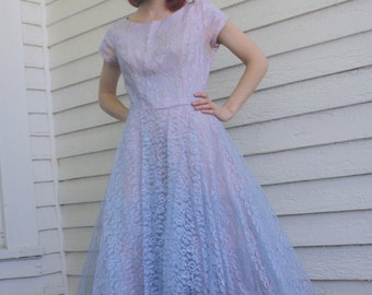 50s Lace Prom Dress Gown Party Formal Purple Vintage 35 Bust S M