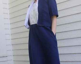 Blue White Dress with Jacket Casual Vintage 70s Secretary Montgomery Ward S