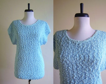 Vintage 1980s Sweater / Baby Blue PASTEL Popcorn Knit T-Shirt Sweater Top / Size XL Extra Large