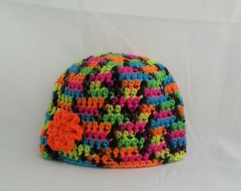 girls crochet hat, flower, crocheted winter hats for girls, flowered beanie, orange flower, vegan friendly, size up to 6 months 1613