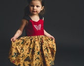 Girls Retro Tattoo Flash Print Embroidered Dress Also Available as Mommy and Me Sets
