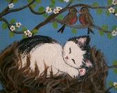Original Painting White CAT Kitten Birds Nest Naive Folk Art