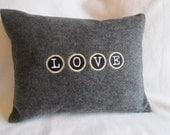 Felt Pillow Cover 12 x 16 - LOVE - Typewriter Font - JD Designs