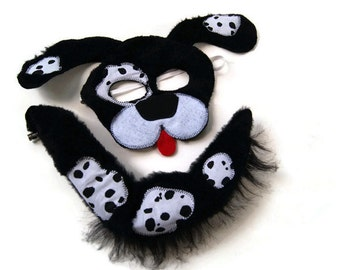Puppy Dog Mask and Tail Set, Dress Up, Farm Animal Birthday Party Favor, Children's Halloween Costume, Adult Mask