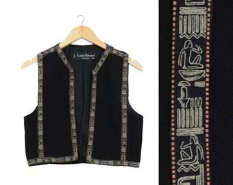 Louis Féraud Hieroglyph Egypt Theme Cropped Vest / S / M