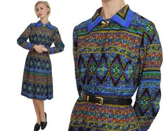 Kaleidoscope Print Jewel Tone Dress / M / L / Novelty Print Shirtwaist Dress