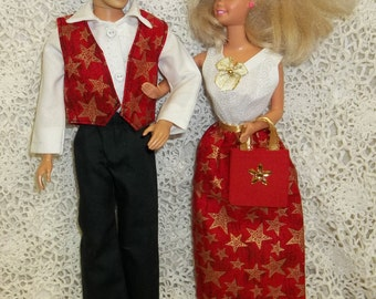 Barbie & Ken Matching Christmas Outfits Red w/Gold Stars Dress Shirt Vest Pants Shoes