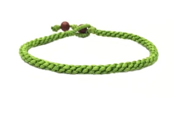Fair Trade Handcrafted Neon Green Cotton Blessed Classic Thai Buddhist Wristband Bracelet Wristwear
