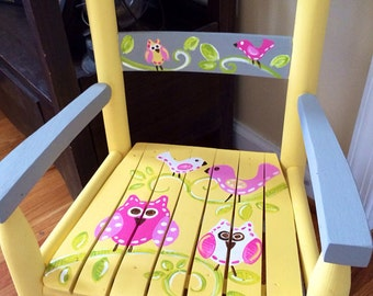 Girls rocking chair -  yellow and grey chair - childs rocker seat - Owl Rocking Chair - Owl Bench - child rocking chair