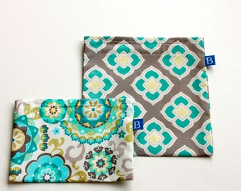 Reuseable Eco-Friendly Set of Snack and Sandwich Bags in Coordinating Turquoise and Gray Fabrics
