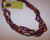 SALE 20% OFF; Ladder Yarn Necklace in Coral Purple Yellow; Crochet Necklace for Women and Teen Girls; Pretty and Practical Fashion Accessory