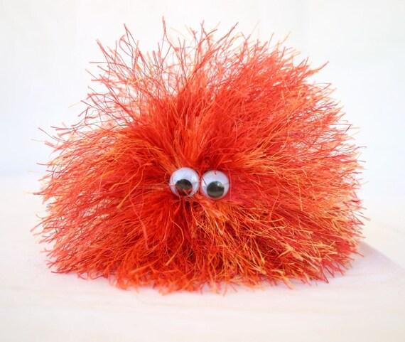 Squishy Ball With Eyes : Stuffed toy orange red crochet puff ball wiggle eyes soft