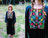 1960's . Mexican . Floral . Embroidered . Black . Silk . Kaftan . Dress . One Size Fits Most
