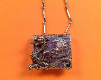 Dragon and New Moon-miniature book necklace with a readable story inside