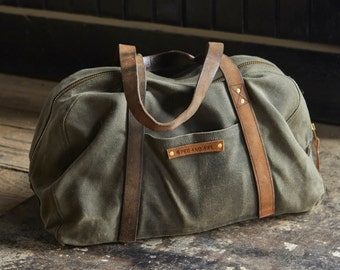 The Day Bag in Moss, Waxed Canvas Tote, Waxed Canvas Tool Bag, Waxed Canvas Carryall, Waxed Canvas Duffel Duffle, For Him