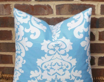 SALE ~ Decorative Pillow Cover: Large Damask Turquoise and White Designer 18 X 18 Pillow Cover