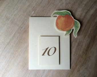 Orange Table Number Tents - Oranges   - for Events, Weddings, Parties, Showers, Graduations.