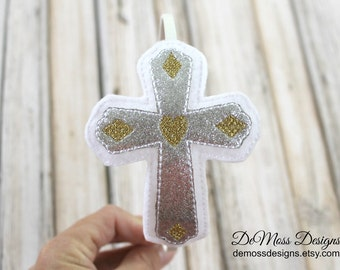 Cross Religious Headband, Sparkle Embroidered Felt Slider, Silver Gold Headband, Girls Headband