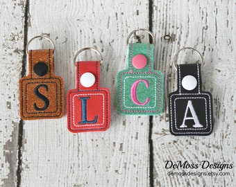 Double Square Personalized Keychain, Bag Tag, Custom Made, Vinyl, with Snap
