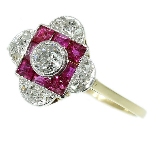 Art Deco Pink Ruby Ring Diamond Cluster 0.2ct European Cut Carre Ruby Yellow Gold 18kt 1920s Ring