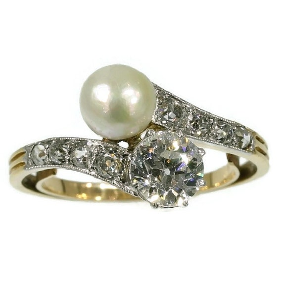 Reserved for Maki - Two stone engagement ring natural pearl antique diamond band yellow gold c.1900