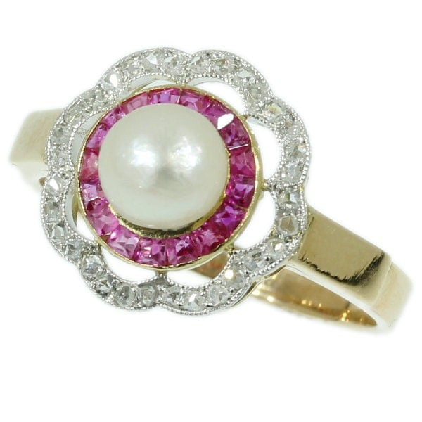 Pearl Vintage Engagement Ring red ruby by adinantiquejewellery