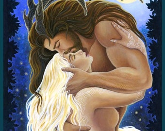 Herne Cernunnos and Selene the Moon Goddess Print