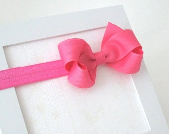 "Hot Pink Headband with 3"" Bow, Hot Pink Hair Bow, Infant Headband, Baby Girl Headband"