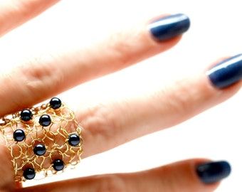 Pearl Ring / Gold Band Ring / Half Finger Ring / Cocktail Ring / Classic Navy Blue / Swarovski Pearl Ring / Unique Ring / Handmade Jewelry
