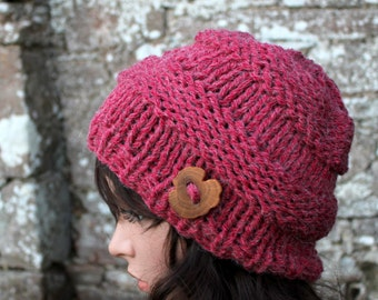 HAT KNIT CHUNKY womens, Big softie hat in red radish shade,  super chunky hat, winter hat, knitwear uk, gift ideas