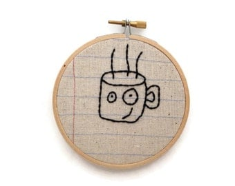 Coffee Cup - Four Inch Embroidery Hoop Wall Art - Anthropomorphic