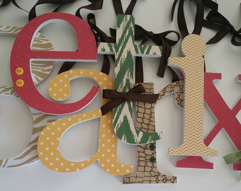 Global Safari, Nursery Decor, Baby Girl, Wooden Letters, World Travel, Animal Prints, Rich Colors-avail in any size or font in this shop
