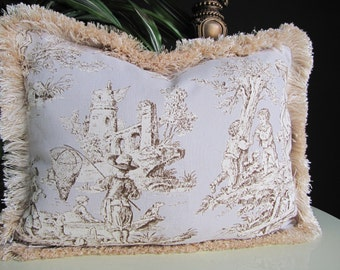Ralph Lauren Summer Retreat Toile Decorator Lumbar Pillow with Brushed Fringe ON SALE was 53.00