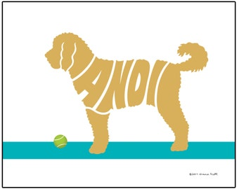 Personalized Goldendoodle Art Print, Goldendoodle Silhouette Name Art, Dog Lover's Gift