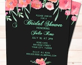Bridal Shower Invitation -Painted Red Flowers on dark -  PRINTABLE Customized and Personalized