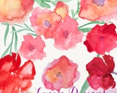 Handpainted watercolor flower clip art  , overlays, digital embellishments PNG