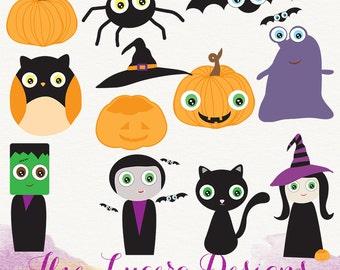 PNG Fall Cute Halloween clip art, overlays, digital scrapbooking embellishments
