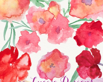 Handpainted watercolor flower clip art  , overlays, digital embellishments PNG