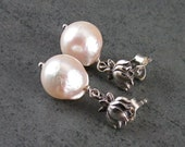 Akoya pearl earrings, handmade lotus flower sterling silver, saltwater pearl post earrings-OOAK