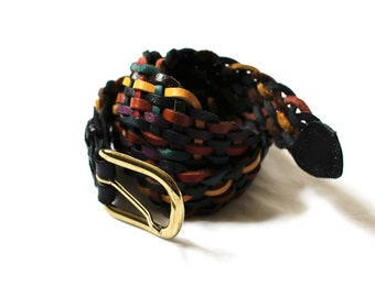 vintage belt braided leather 80s colorful multicolor rainbow accessories 1980s size s m small medium