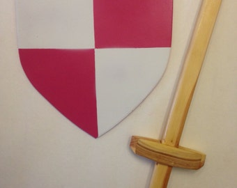 Kids Hand Painted Pink and White Wooden Toy Sword and Shield Set