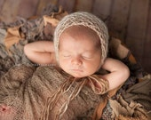 Knit Newborn Bonnet Hat, Newborn Baby Bonnet by Cream of the Prop