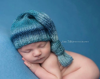 Knit newborn hat, photography prop, colorful baby hat, Newborn Photo Prop, Hand knit baby hat by Cream of the Prop