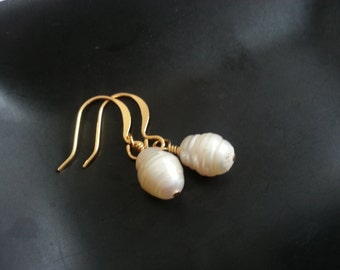 Natural Pearl Earrings - Gifts for Her - Beach Wedding Jewelry - Prom Homecoming Jewelry - 12th or 30th Anniversary Gifts - Gifts Under 15