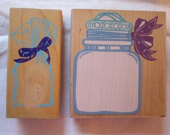 2 rubber stamps - empty baggie and jar - Rubber Stampede - clearly wrapped bag, clearly a big jar