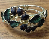 Vintage 1960s Cuff Bracelet / Art Noveau /  Enameled Dark Wine Tulips and Green Leaves Set in Goldtone Metal / Spring Loaded