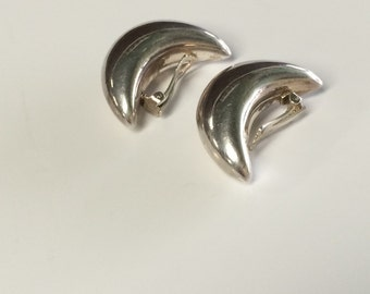 Sterling Chunky Crescent Moon Clip On Earrings Vintage Silver Fashions