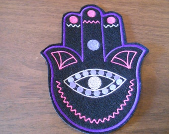 6.75 inch art deco style embroidered hamsa iron on patch shades of purple, hot pink and silver